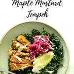 Warm Kale Salad with Maple Mustard Tempeh