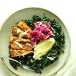 Warm Kale Salad with Maple Mustard Tempeh and Ruby Kraut