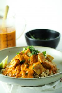 Peanut Butter Curry Sauce with Crispy Tofu and Rice