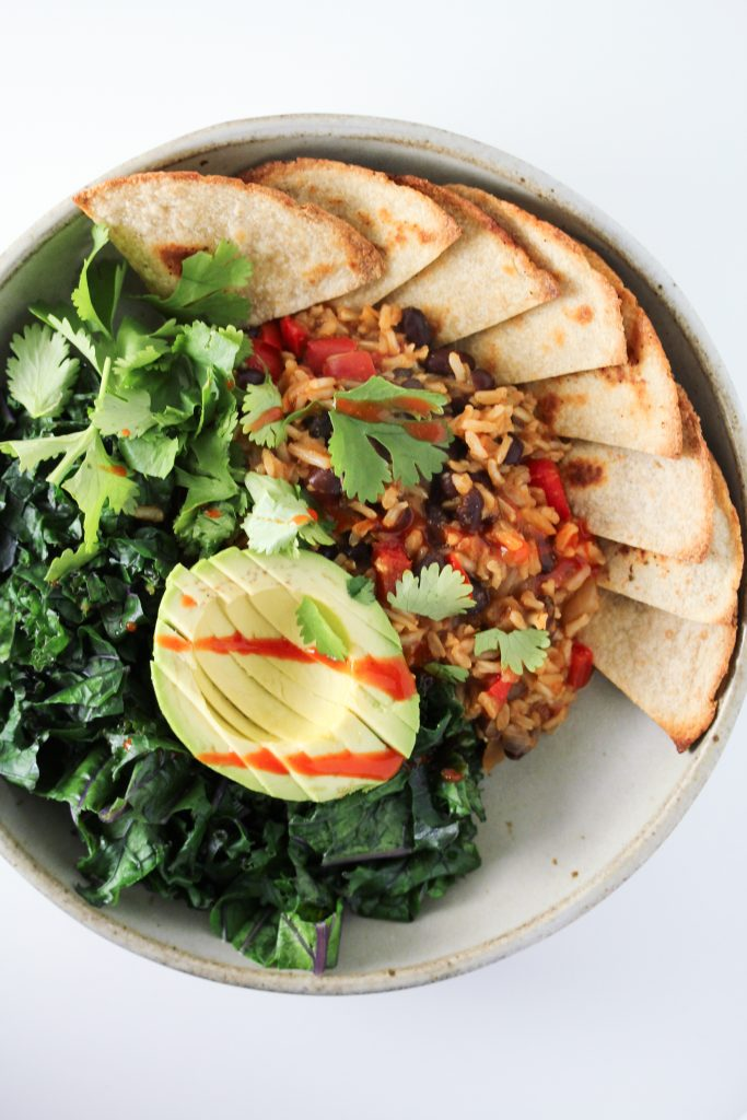 One-Pot Rice and Beans with Greens and Tortilla Chips