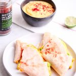 Vegan Samosa Quesadillas with Spicy Mango Yogurt Sauce