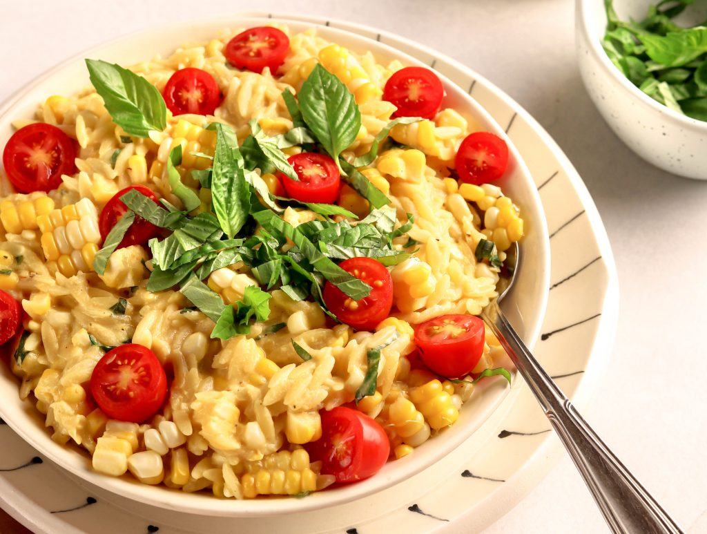 One-Pot Vegan Creamed Corn Orzo